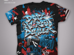 dope hair cut dealer T-shirt design Carlos Nieto Graffiti Art Apparel