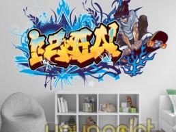 Graffiti de nombre decoración habitación juvenil infantil